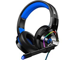ZIUMIER Gaming Headset PS4 Headset, Xbox One Headset with Noise Canceling Mic and RGB Light, PC Headset with Stereo Surround