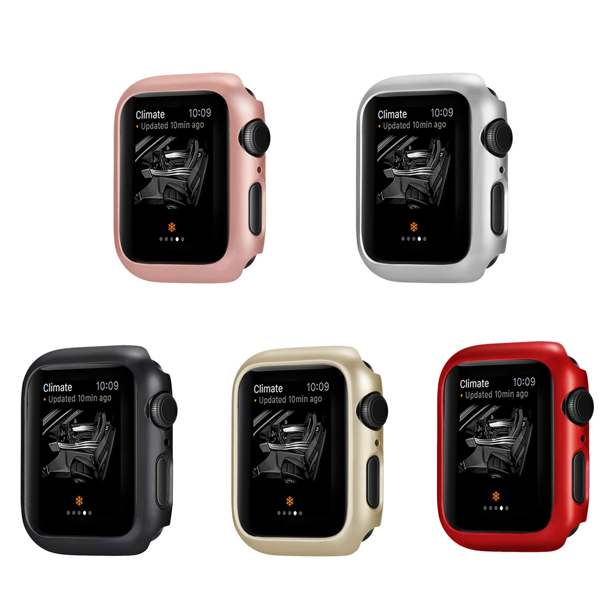Coobes Compatible with Apple Watch Case Series 4 44mm 40mm, Ultra-Thin Bumper PC Hard Lightweight Shockproof Protector Cover Slim Frame Accessories Compatible iWatch (40mm)