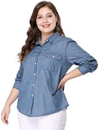 Agnes Orinda Women\'s Plus Size Long Sleeve Chest Pocket Chambray ...