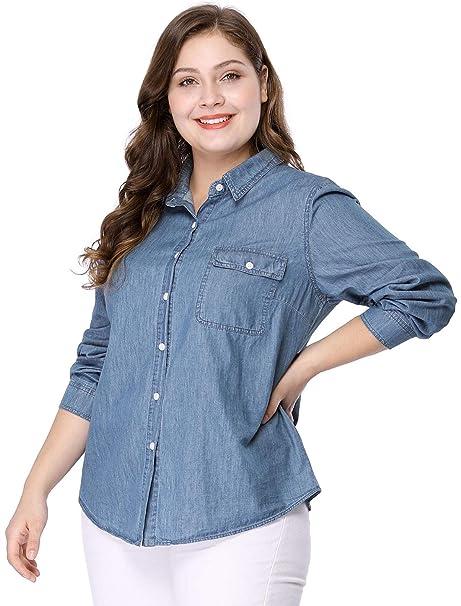 Agnes Orinda Women\'s Plus Size Long Sleeve Chest Pocket Chambray Shirt