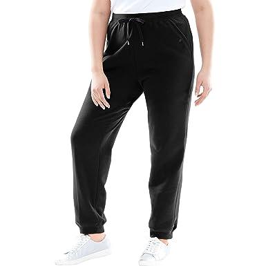5aee1ee886f Woman Within Plus Size Petite Better Fleece Jogger Sweatpant - Black