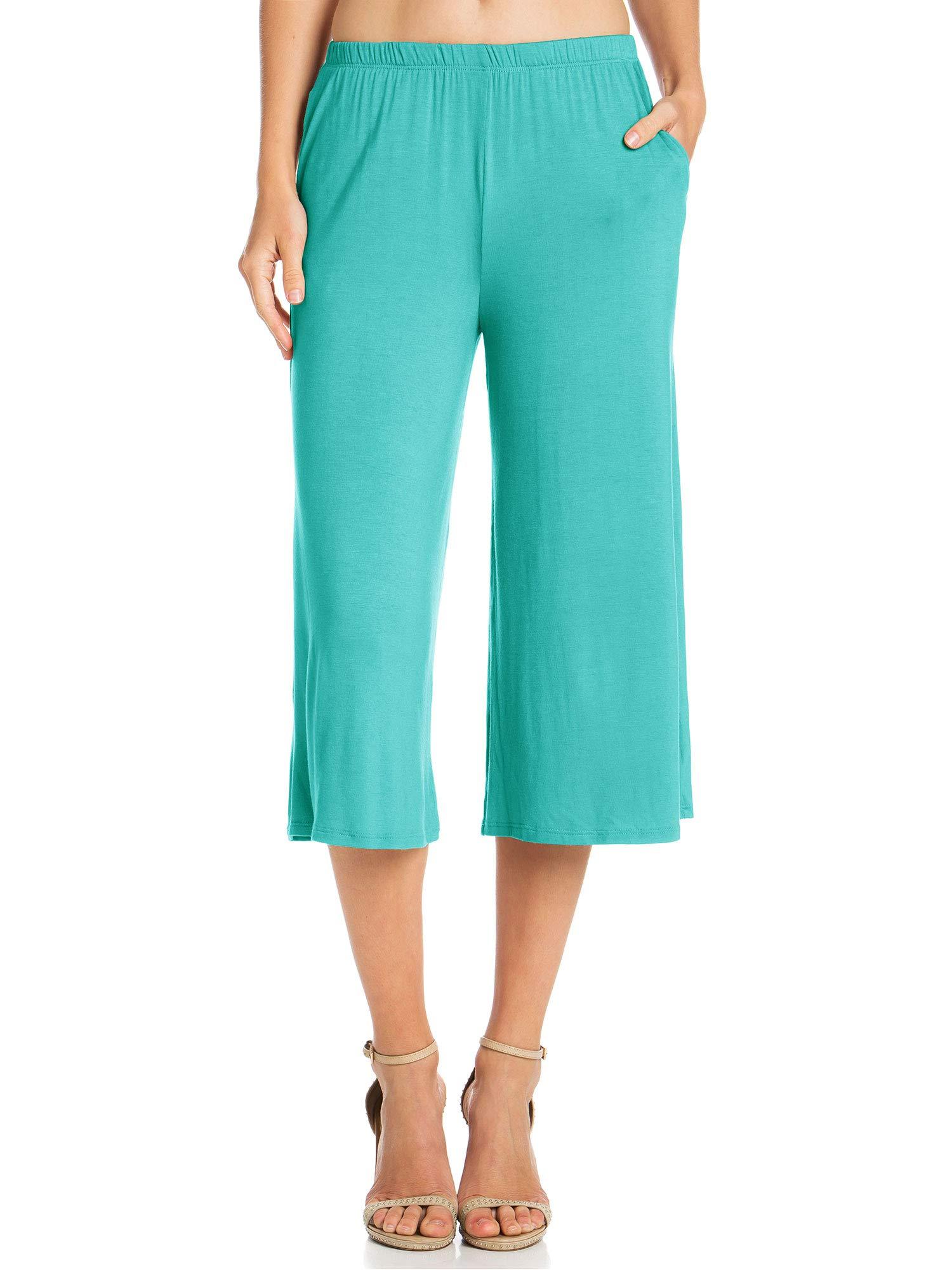 Fashion California Womens 1 Pack Elastic Waist Jersey Culottes Capri Pocket Pants (XXXXX-Large, Aqua) by Fashion California (Image #2)
