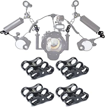 WLPREOE 6 PCS x 1 Inch Aluminum Standard Long Ball Clamp Mount for Underwater Diving Light Arm System,Work with Ram Mounts