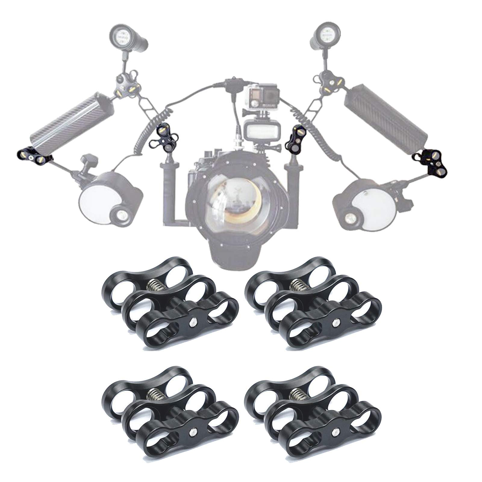 WLPREOE 4 PCS x 1'' Inch Aluminum Standard Ball Clamp Mount for Underwater Diving Light Arm System,Work with Ram Mounts by WLPREOE