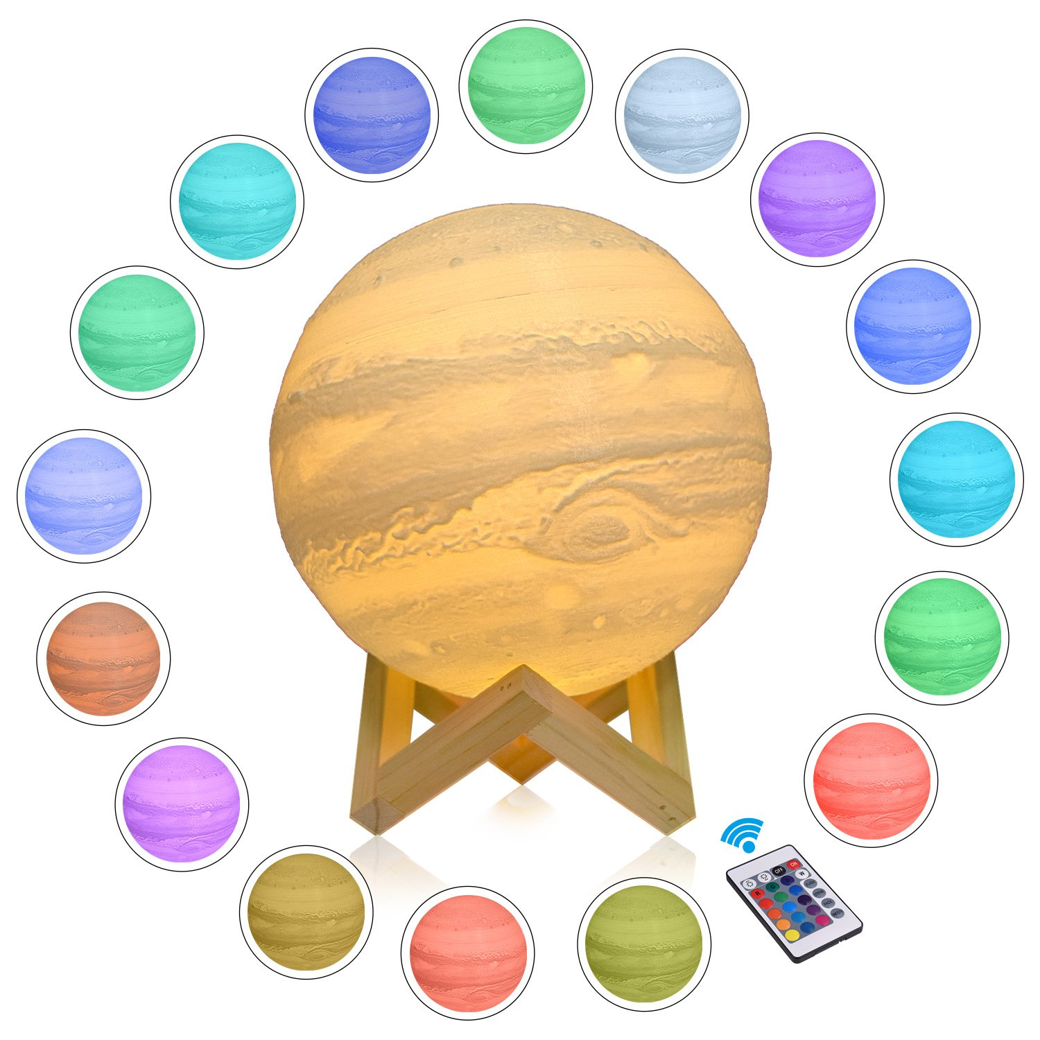 CPLA Jupiter Lamp Seamless 3D Printing Baby Night Light Dimmable 16 Colors with Remote Control PLA Material Home Decor Gifts Diameter 7.1inches(18cm)