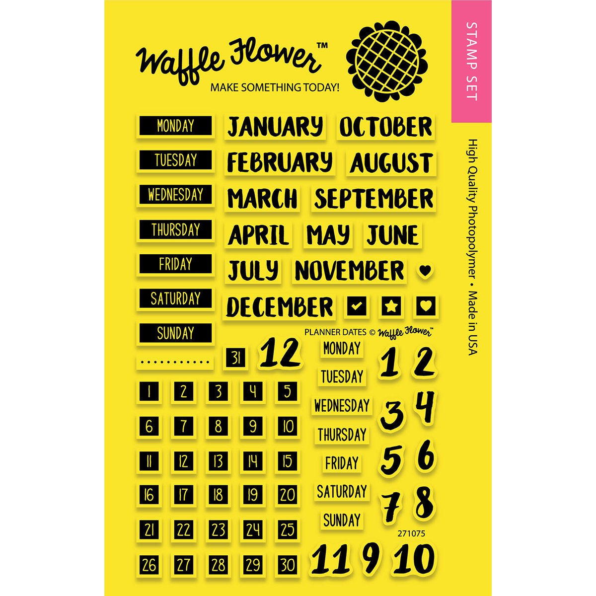 Waffle Flower Crafts Planner Dates Clear Stamps 43494117