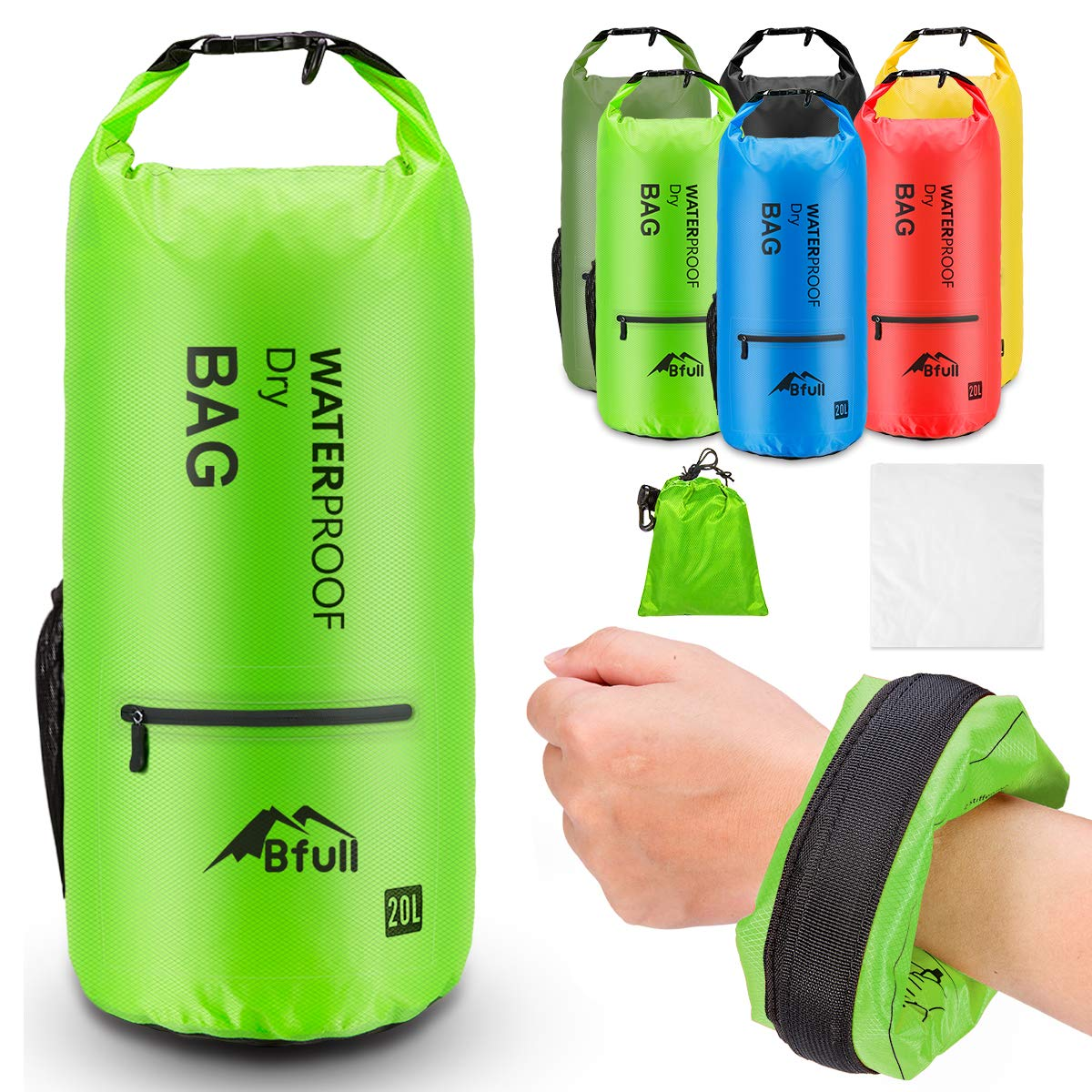 BFULL Waterproof Dry Bag 5L/10L/20L/30L/40L [Lightweight Compact] Roll Top Water Proof Backpack with 2 Exterior Zip Pocket for Kayaking, Boating, Duffle, Camping, Floating, Rafting, Fishing (Green) by BFULL