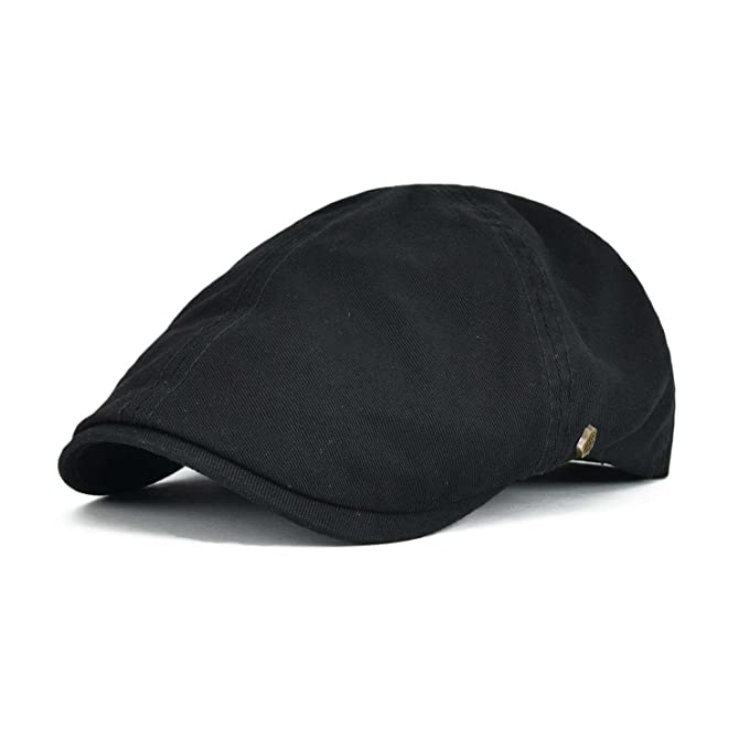 VOBOOM Cotton Flat Cap Cabbie Hat Gatsby Ivy Cap Irish Hunting Hat Newsboy  (Black) cea612965609
