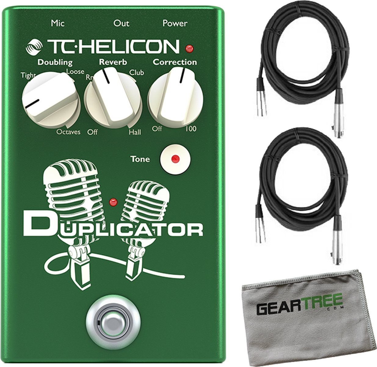 TC Helicon 996372001 TC Helicon DUPLICATOR Vocal Effects Pedal w/ 2 XLR Cables and Geartree Cloth