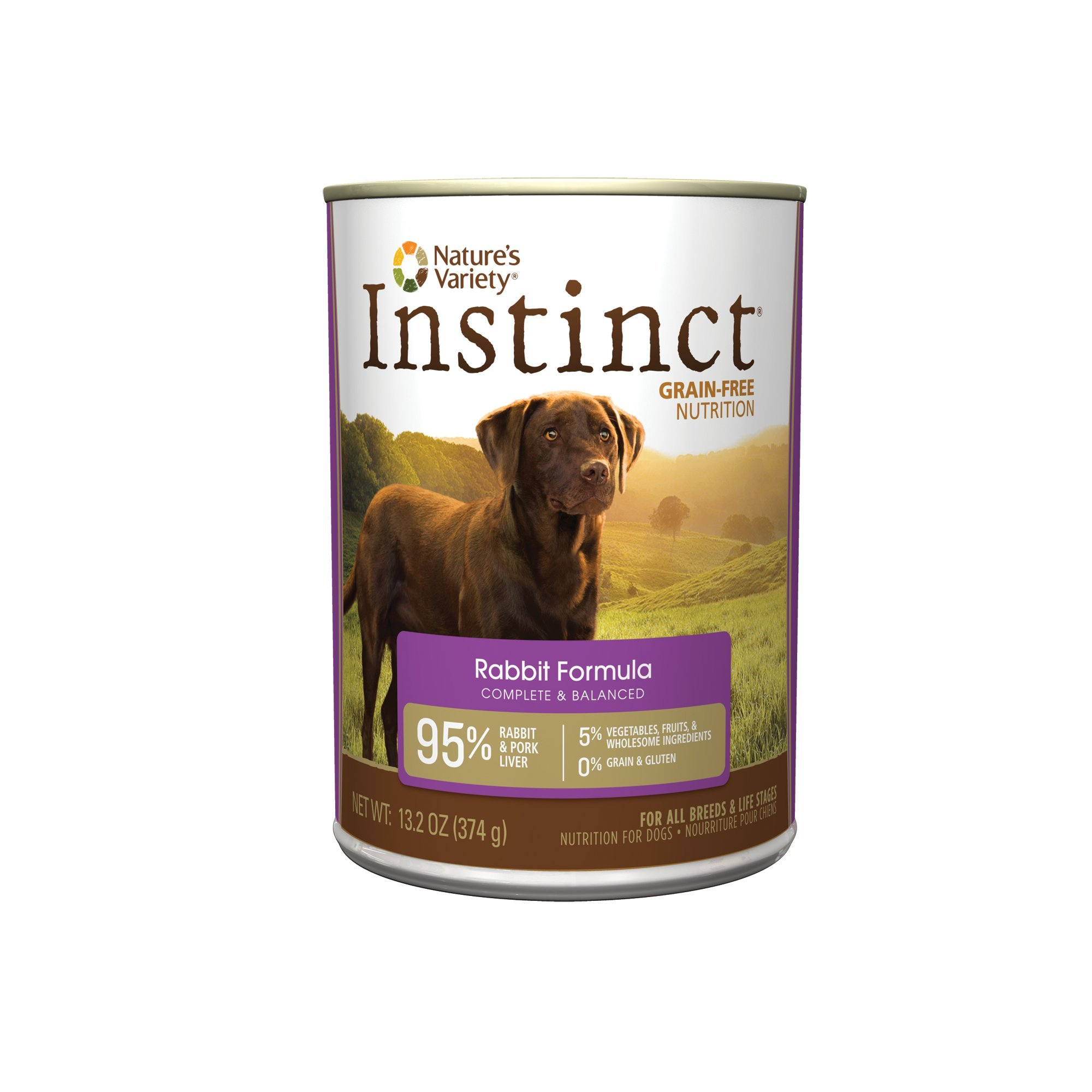 Nature's Variety Instinct Grain-Free Rabbit Canned Dog Food, 13.2 oz., Case of 12
