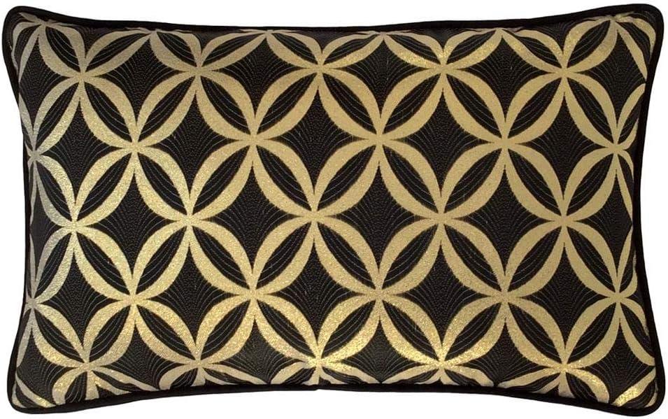 pillowerus Satin Decorative Circles Black-Gold 14x24 Pillow Cover/Case Lumbar Bolster Lattice Sham with Black Satin Piping for Home Decor, Sofa, Couch, Porch