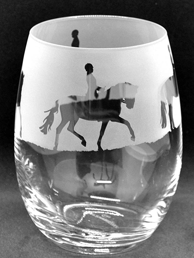 BOXED RACE HORSE FRIEZE 35cl Crystal Wine Glass
