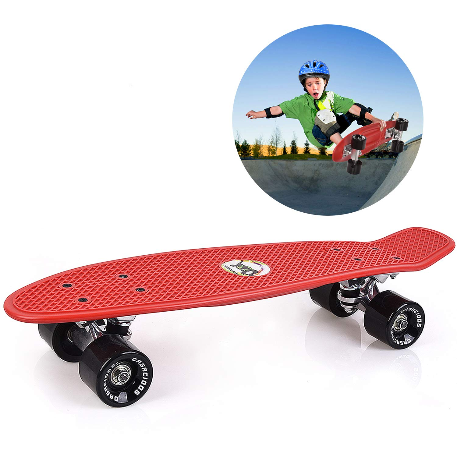 GASACIODS 22 Inch Mini Cruiser Skateboard Complete Plastic Retro Board with Bendable Deck and Smooth PU Casters Speed for Kids Youths Beginners, 220 Ibs
