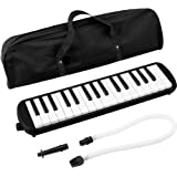 IRICH 32 Key Melodica with 2 Pcs Mouthpiece (Short + Long) + 1 Pcs Soft Carry Bag, Portable Piano Style Pianica for Music Lovers and Beginners(Black)