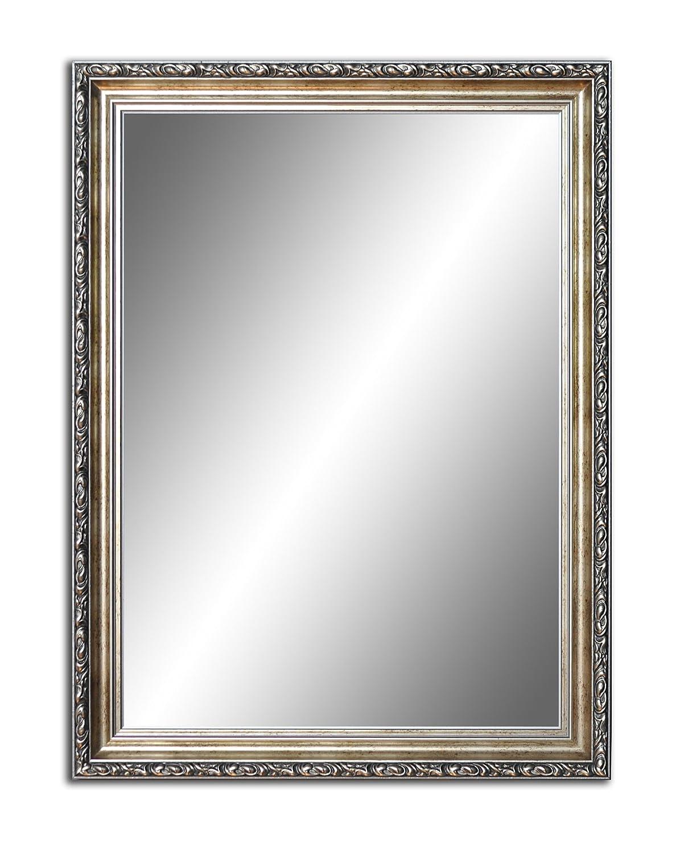 80 cm x 60 cm, Spiegel mit Rahmen, Badezimmerspiegel Antik, Alte Spiegel, Handgefertigte, Stabiler Rückwand, Rahmenleiste  60 mm breit und 45 mm hoch, Rahmen Farbe  Gold- Silber
