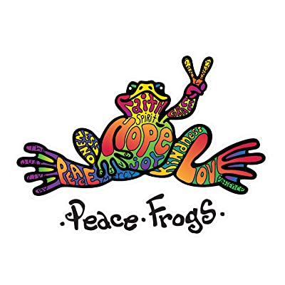 Enjoy It Peace Frogs Hope Peace Frogs Car Sticker, Outdoor Rated Vinyl Sticker Decal for Windows, Bumpers, Laptops or Crafts: Toys & Games