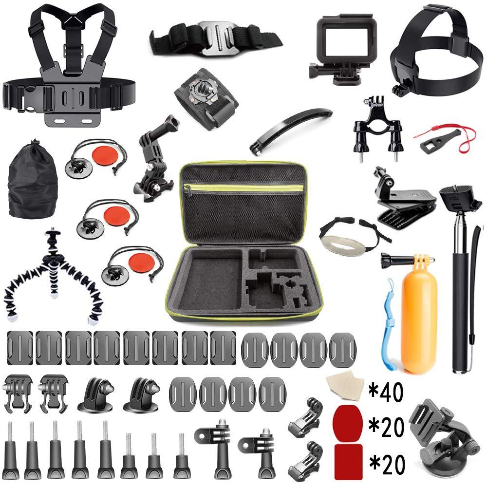 Asobeage 212-in-1 Accessories Kit for Hero 7,Hero 4,5,6,Session,Black,Hero 2018,Fusion,Head Strap Bike Car Backpack Clip Mount for AKASO Yi APEMAN VIVITAR SJCAN XIAOMI DBPOWER EK5000 EK7001