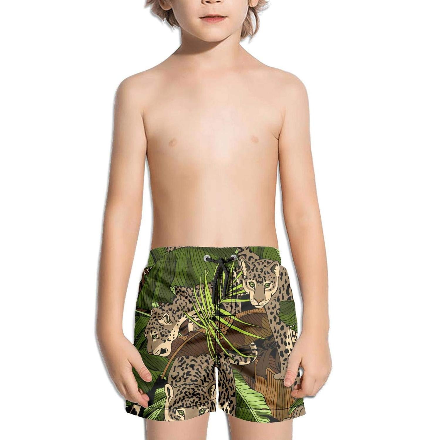 jhnkmmnc Fabric Leopard Fabric Camouflage Tropical Printed Solid Board Swim Shorts