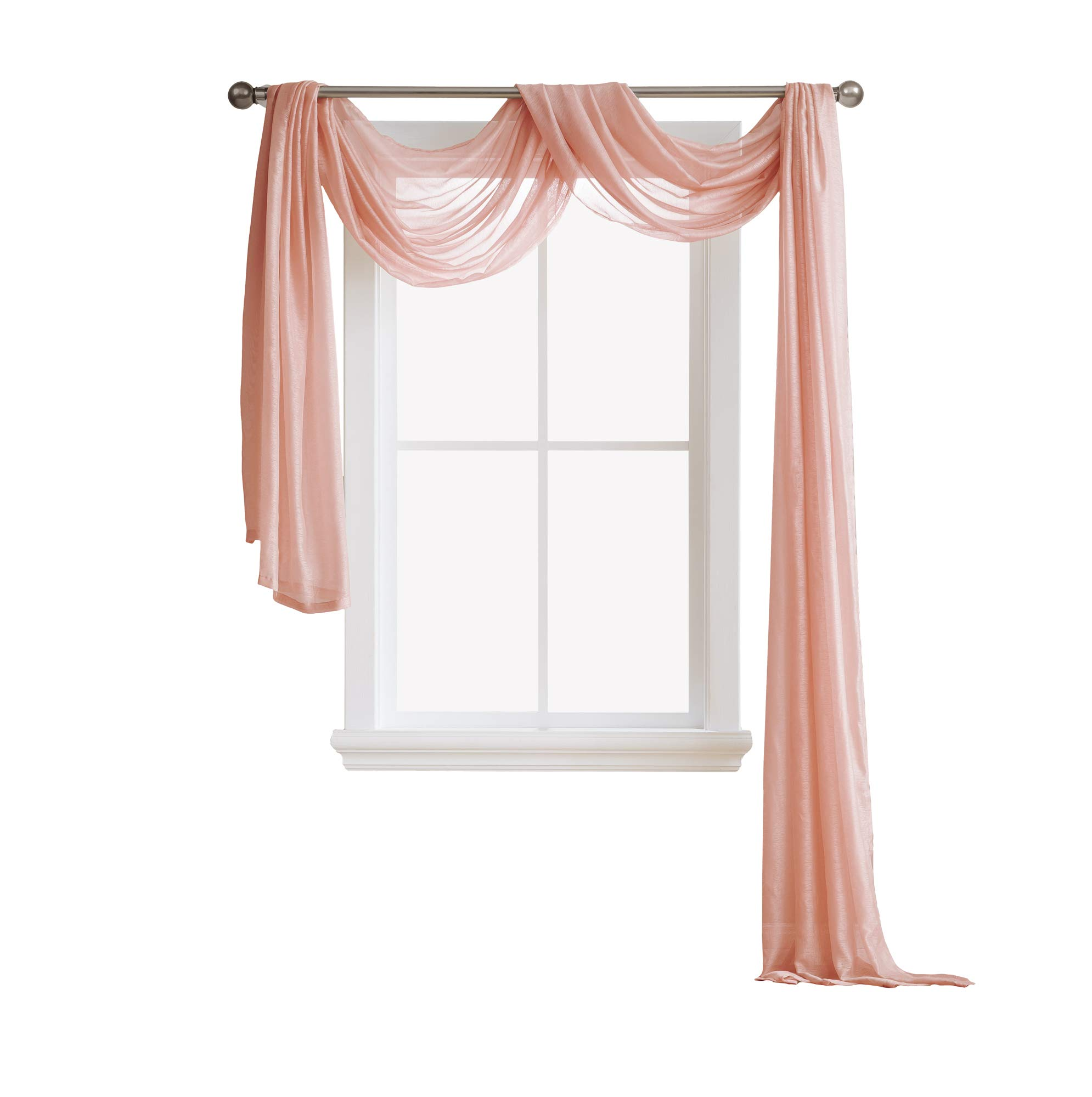 LinenZone Jane - Semi-Sheer Window Scarf (54 x 144) - Elegant Home Decor Window Treatments - Add to Window Curtains Enhanced Effect (1 Scarf 54'' x 144'', Coral)