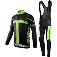 INBIKE Men's Long Sleeve Bike Jersey Gel Padded Tights Cycling Bib Suits