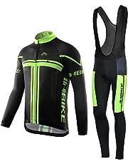 INBIKE Men's Long Sleeve Bike Jersey Gel Padded Tights Cycling Bib Suits