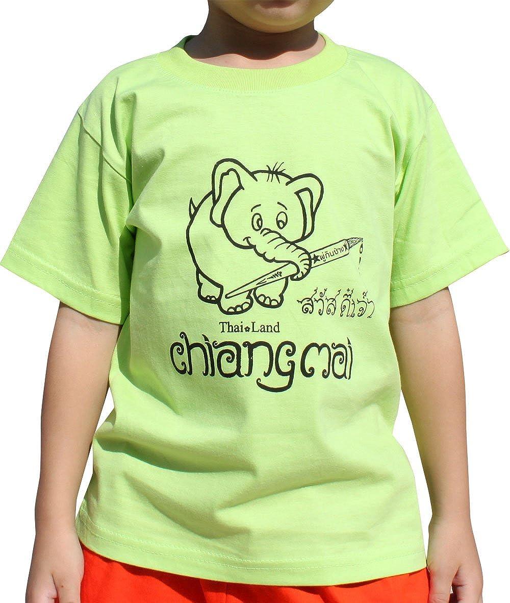 a401327cd Amazon.com  Raan Pah Muang Brand Cotton Child Shirt Tuk Tuk Elephant   Clothing