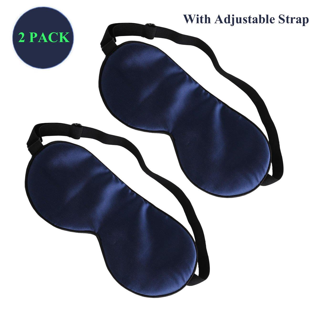 デュアルサーフェスシルクファブリックスーパーソフトシルク滑らかなスリープマスク、目マスク、調節可能なストラップ付き; Works with every Nap位置オフィス、寝室、Sleeping Aid – ブルー B07C2M3J8L