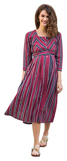 fa89f81d9147d Image Unavailable. Image not available for. Colour: MOMZJOY Maroon Striped  Pocket Maternity & Nursing Dress