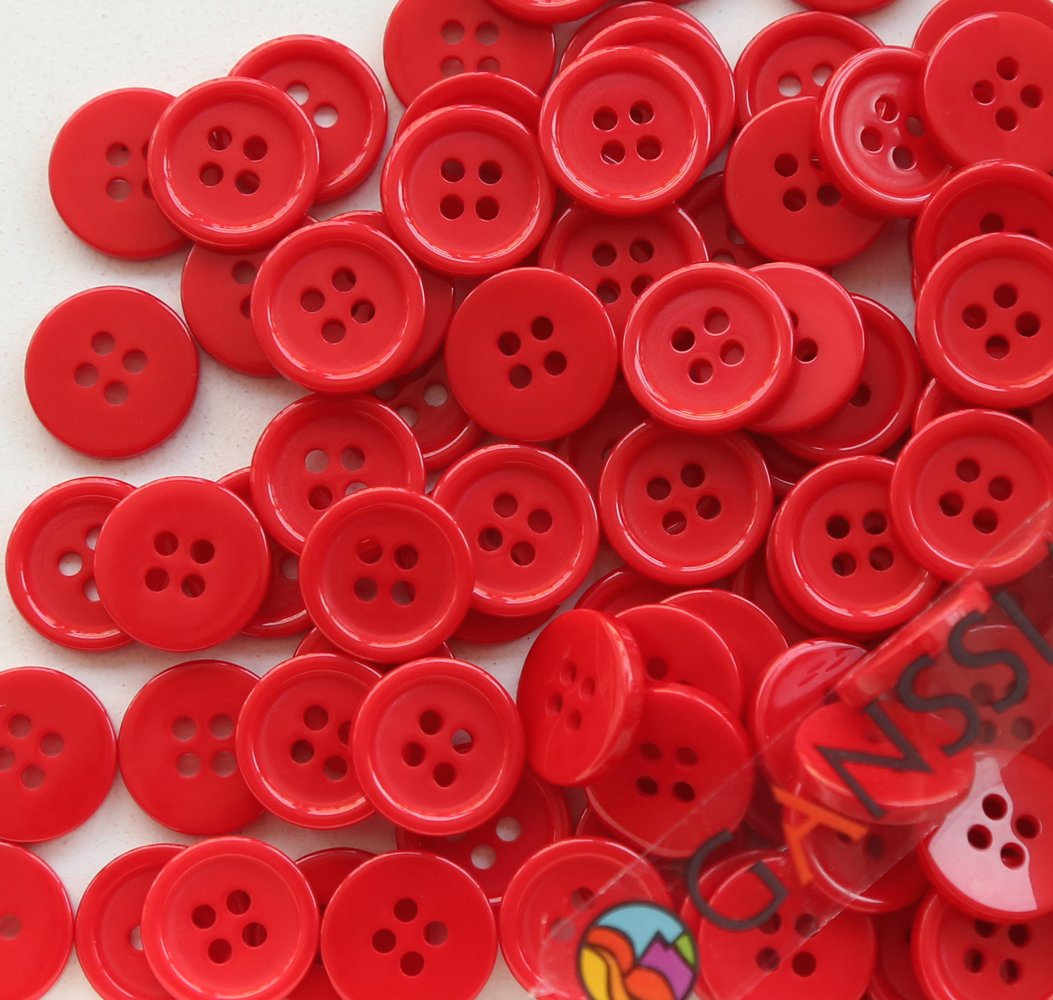 GANSSIA 5/8' (15mm) Sewing Flatback Buttons Colored Red Pack of 160 Pcs WENZHOU DECO INTERNATIONAL CO. LTD