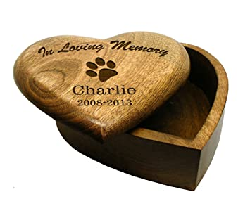 In Loving Memory LARGE Heart Wooden Pet Urn Cremation Ashes Dog Pet Box  Personalised