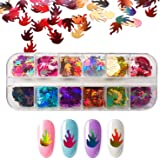Flame Reflections Nail Art Stickers, 12 Color Fire Holographic Glitter Nail Decals Sequins 3D Nail Foil Flakes Laser Confetti Acrylic Paillettes DIY Manicure Face Body Make Up Decoration - BONGEAR