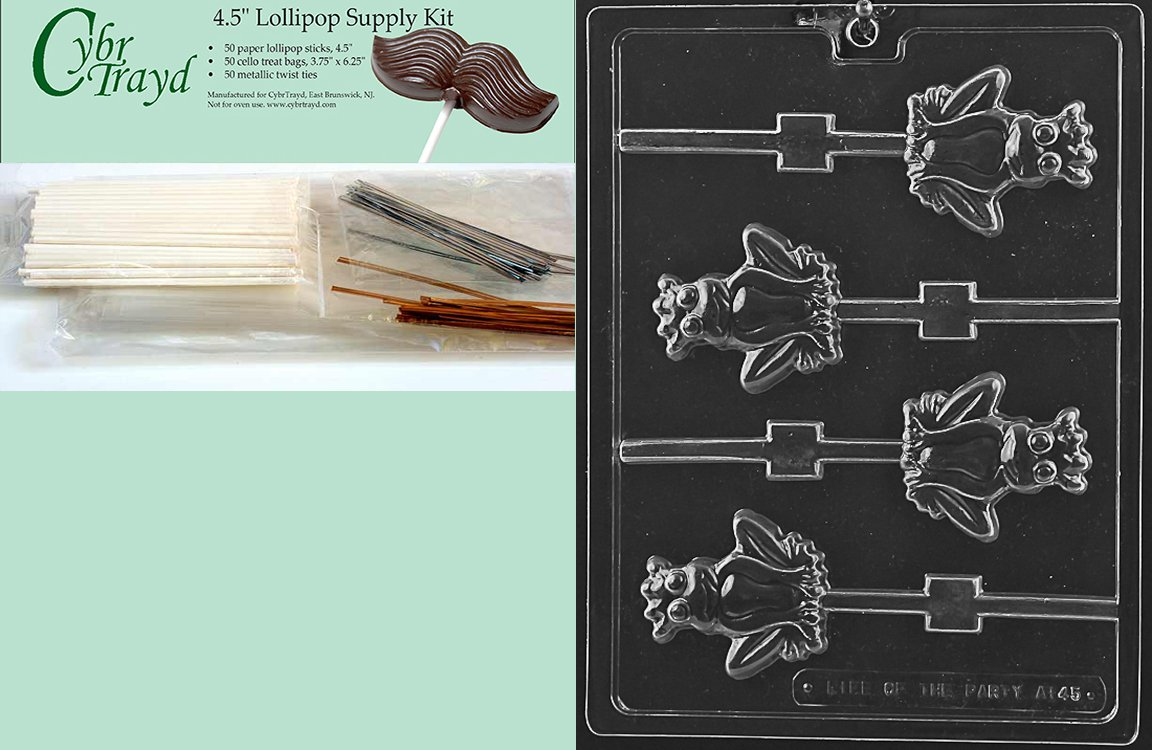 Cybrtrayd 45StK50-A145 Frog Prince Lolly Animal Chocolate Candy Mold with Lollipop Supply Kit