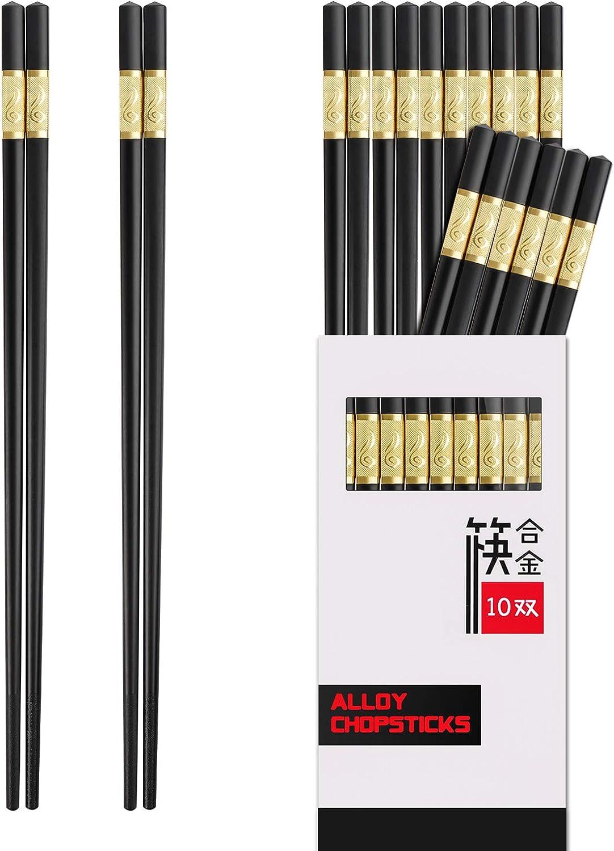 Chopsticks Reusable,10 Pairs Reusable Chopsticks Dishwasher Safe,9.5 Inch Fiberglass Chopsticks Multipack Chop Sticks Japanese Korean Chopsticks for Food (Black Chopsticks)