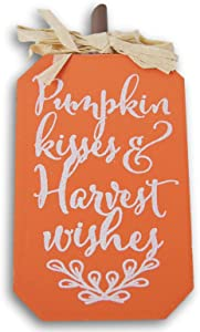 Fantastic Fall Miniature Autumn Wooden Decor Sign - ''Pumpkin Kisses and Harvest Wishes'' - 3.5 x 5.25 Inches
