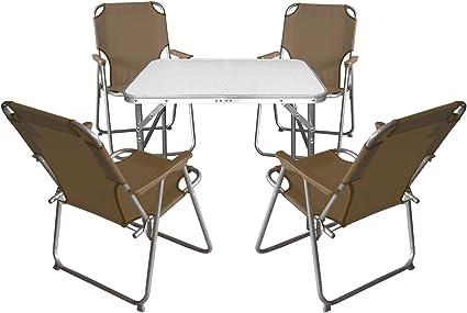 Garten Campingmöbel-Set Klapptisch 75x55cm 5tlg 4x stapelbarer Bistrostuhl