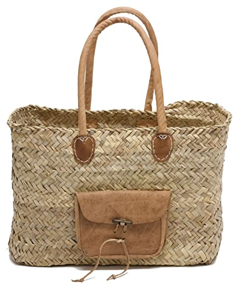 Amazon.com: Marroquí paja bolsa Bolso W/asas de piel color ...