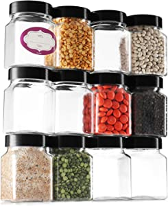 Clear Empty Plastic Storage containers with Lids - Square Plastic Containers - Plastic Jars with Lids and Labels – BPA Free Plastic Jar - Food Grade Air Tight – Pantry Canisters (12 Pack 6 Oz)