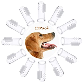 OneBarleycorn – 12 Unidades de Cepillo de Dientes de Silicona Suave para Perros y Gatos,