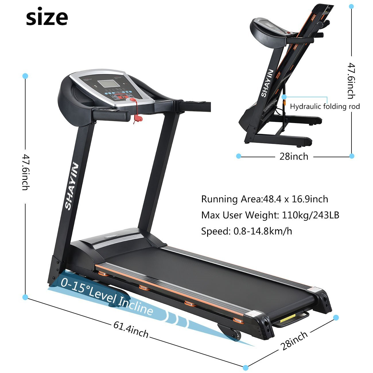 Treadmill Portable Folding Running Machine Indoor Commercial Home Health Fitness Training Equipment (US STOCK) by Shayin (Image #1)