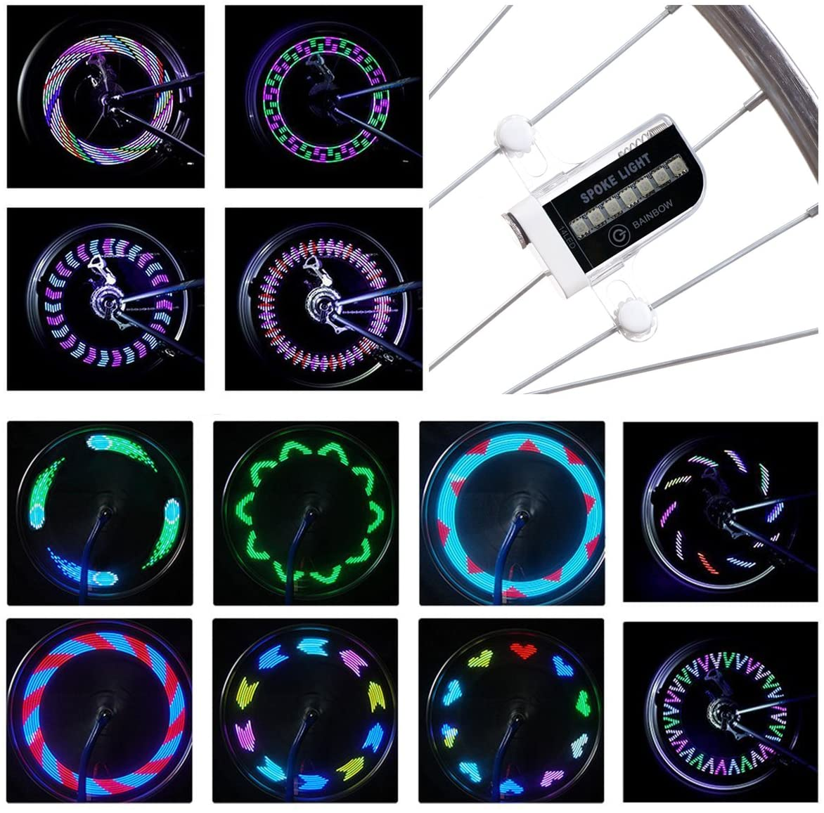 DAWAY LED Bike Spoke Lights - A12 Waterproof Cool Bicycle Wheel Light, Safety Tire Lights for Kids Adults, Very Bright, Auto & Manual Dual Switch, 30 Pattern, Include Battery