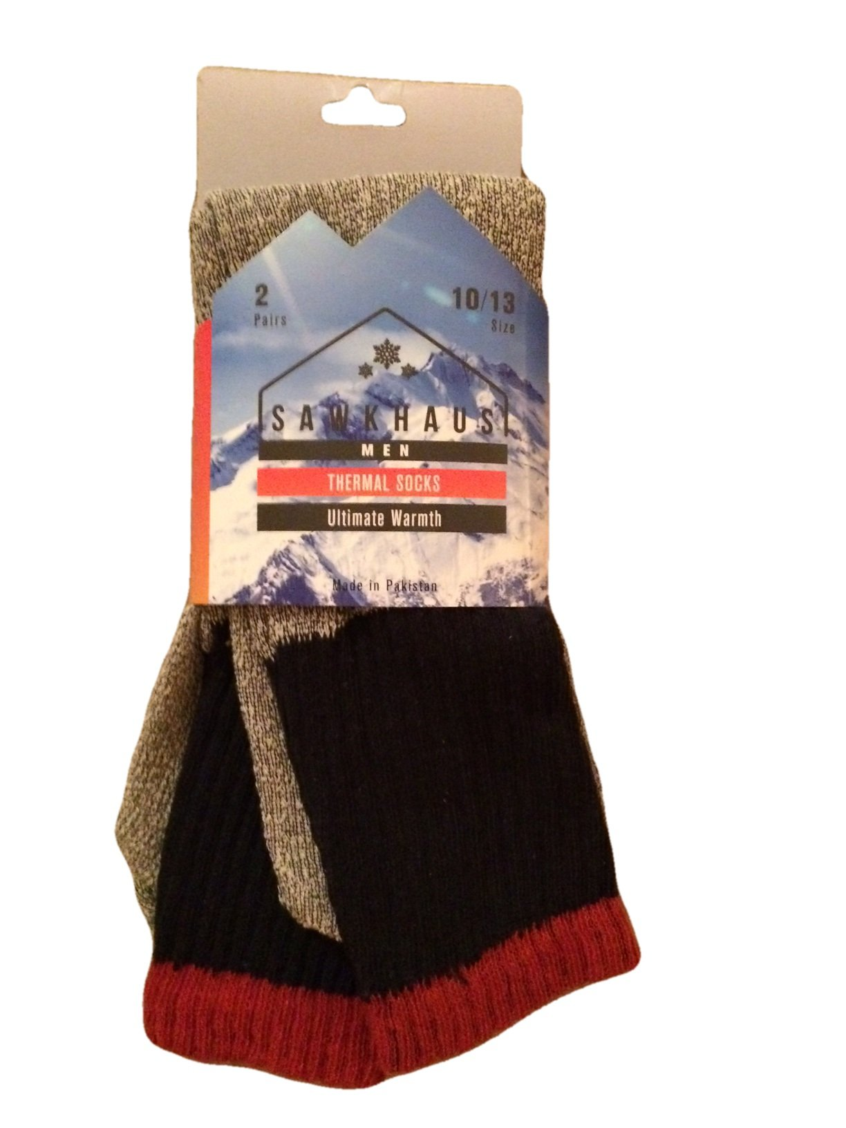 Mens Thermal Socks - 2 Pairs - Size 10 - 13 (Blue, 10 - 13)