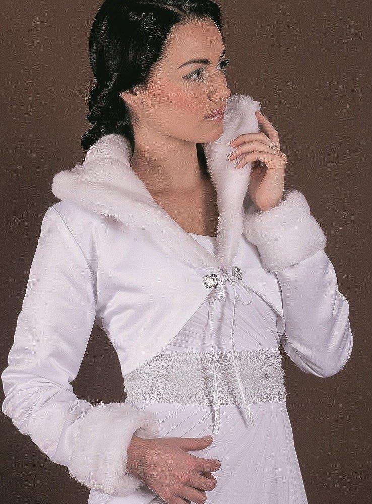 Boutique-Magique Manteau de Mariage Fausse Fourrure et Satin