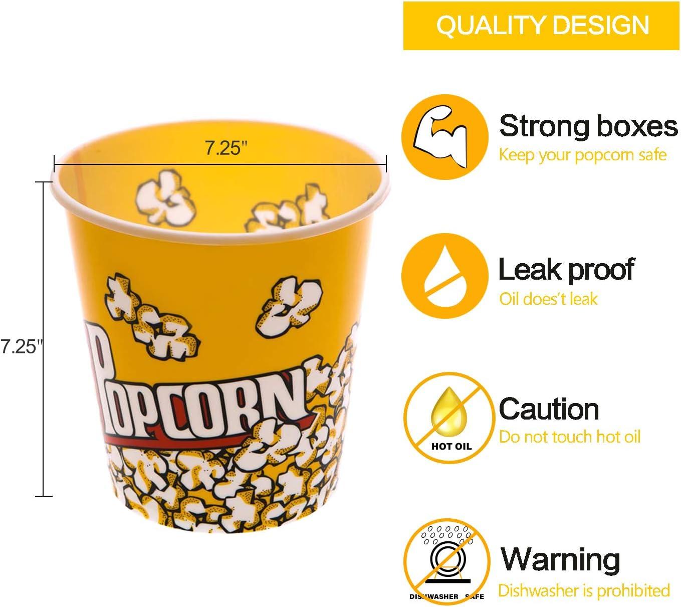 Reusable Plastic Popcorn Tub Cinema Movie Party Snack Treat Box Stripe 2.8L