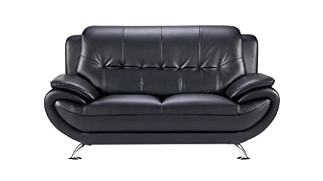 Tremendous American Eagle Furniture Highland Bonded Leather Living Room Loveseat With Pillow Top Armrests Black Gmtry Best Dining Table And Chair Ideas Images Gmtryco