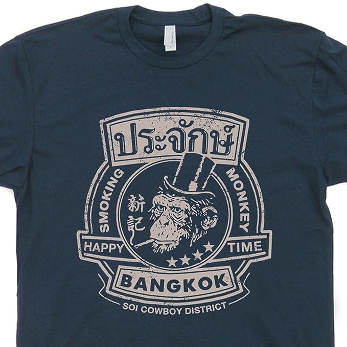 S - Smoking Monkey Cool Bar T Shirt Vintage Bar Shirts Bangkok Pub Tees  Retro Dive