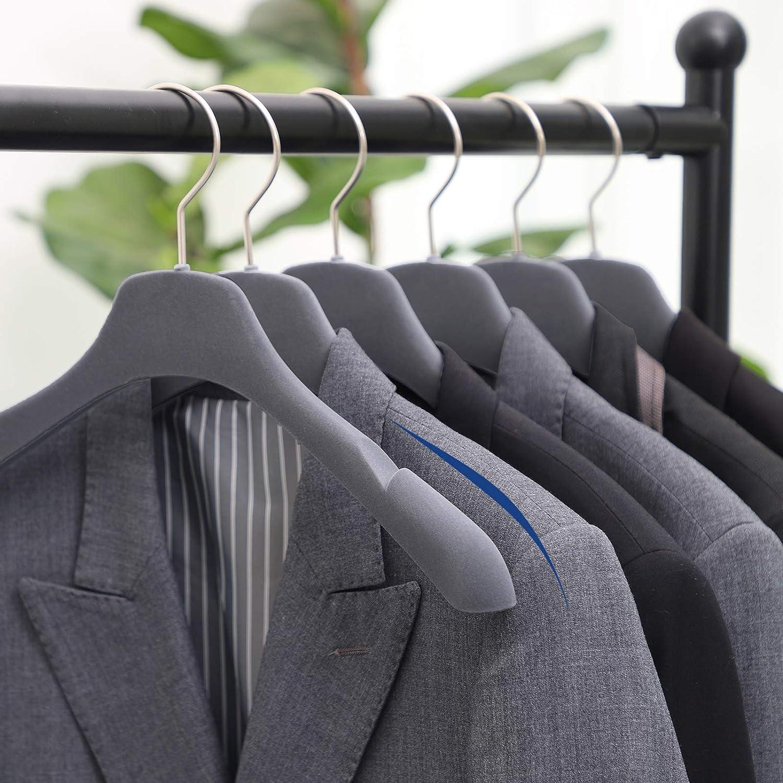 Paquete de 10 Perchas Curvas para Hombros para Abrigo Antideslizante con Muescas en los Hombros Camisola Vestido Camisa Gris CRF22G10 SONGMICS Perchas para Trajes de Terciopelo