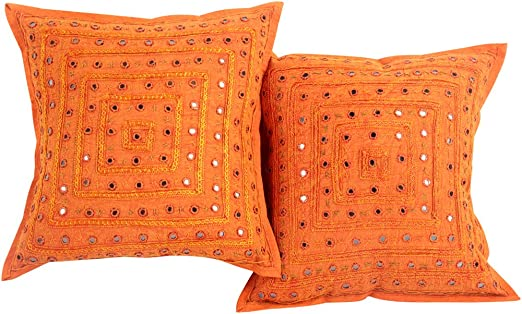 Indian Ethnic Vintage Cushion Covers Embroidery Mirror Work Sofa Pillow Covers