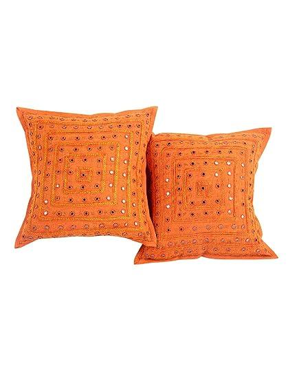 Amazon Com 2 Orange Mirror Work Embroidery Indian Sari Throw Pillow