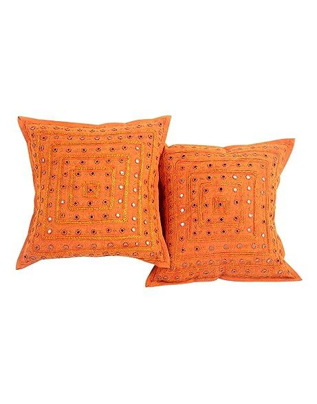 Amazon 2 Orange Mirror Work Embroidery Indian Sari Throw