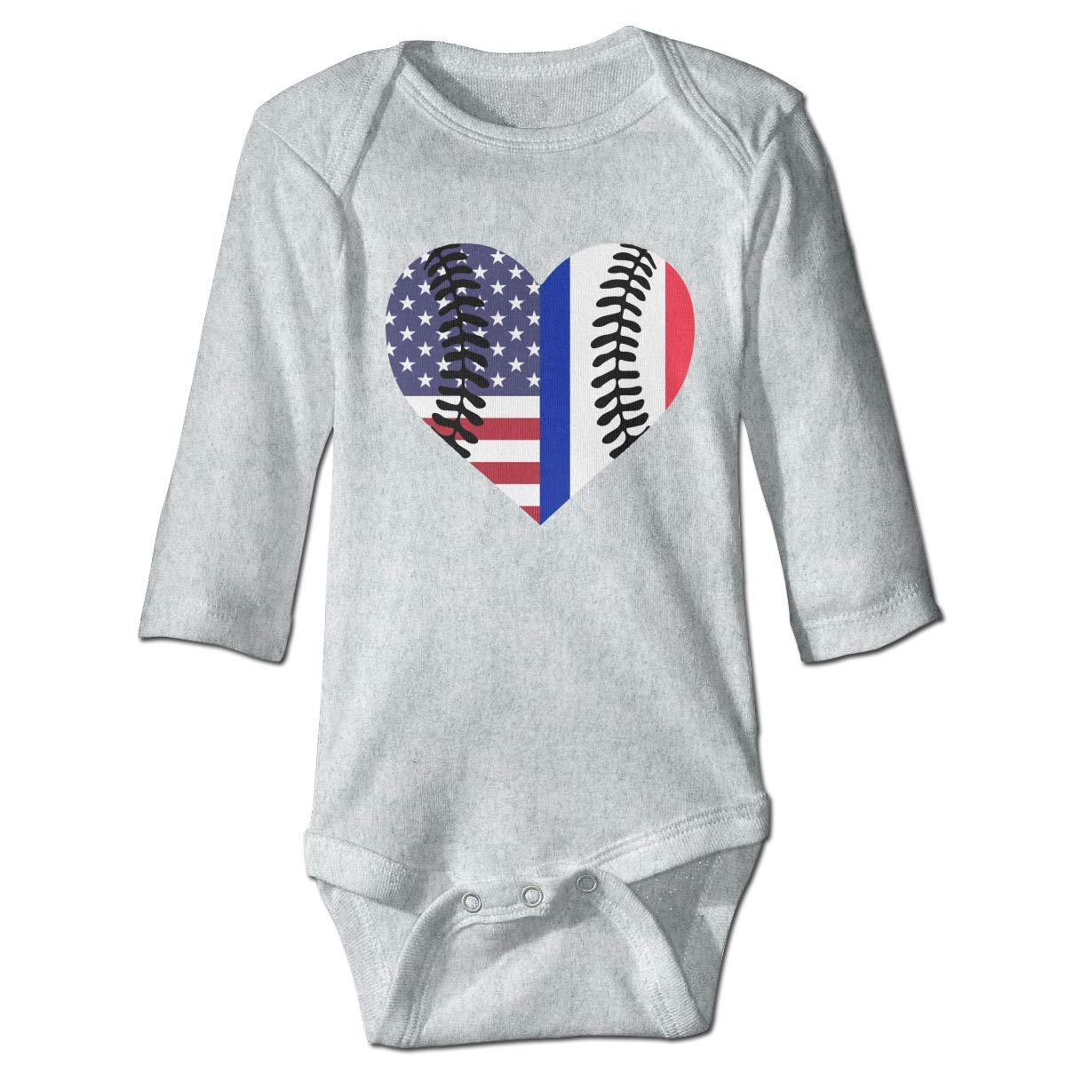 A14UBP Infant Babys Long Sleeve Romper Bodysuit France USA Flag Half Baseball Unisex Button Playsuit Outfit Clothes